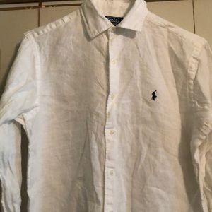 White Linen Men's Polo Shirt